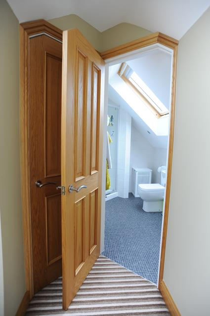 ensuite in loft conversion barnsley with oak second fix